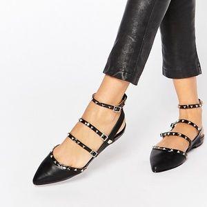 ALDO Zerah Black Studded Flat Black Shoes